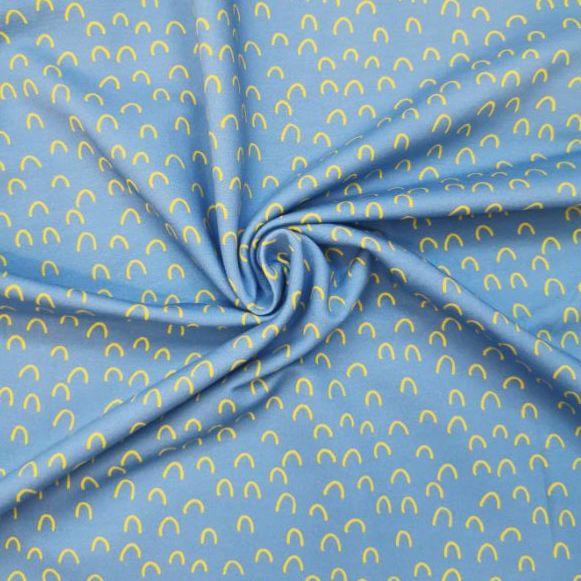 fondo azul pequeños arcos amarillos