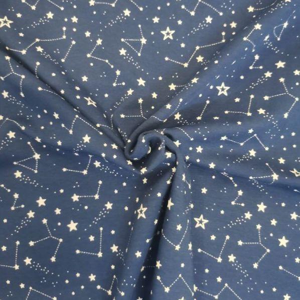 Fondo azul, constelaciones y estrellas blancas