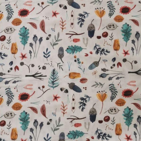 tela de algodón orgánico certificado chvmarket diseño autumn forrest