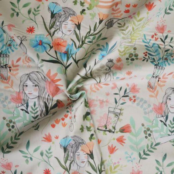 tejido de algodon garden flowers chvmarket