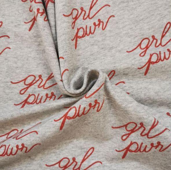 tela girl power fondo gris con letras rojas