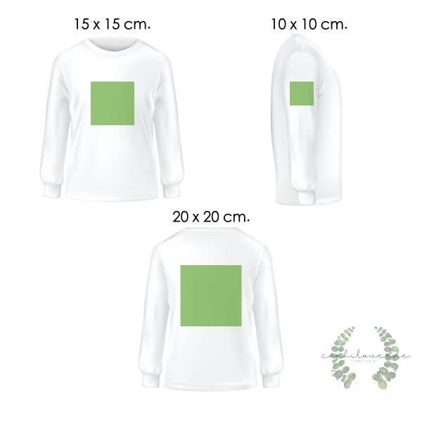 ilustracion de 3 camisetas blancas de frente, perfil y espalda, con cuadrados en verde de 10x10, 15 x 15 y 20x20 cm