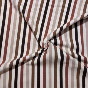 rayas verticales en diferentes tonos de marrón: crema, moka, avellana, teja, fondo beige