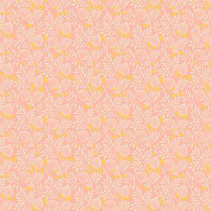 Loneta waterproof y antimanchas Estampado de flores sobre un bonito fondo coral y pequeños toques de amarillo.