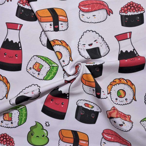 Dibujos simpáticos de distintos tipos de sushi, estilo kawaii. Niguiri, maki, salsa de soja, wasabi, etc