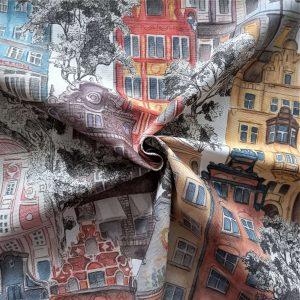 Tela de loneta con dibujos de fachadas de casas.