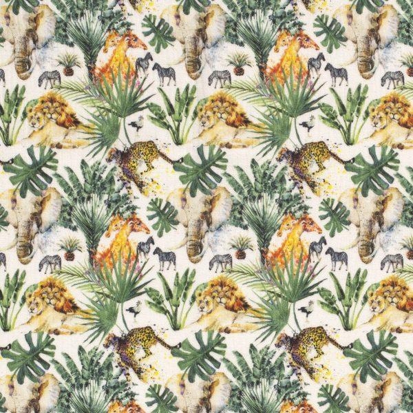 mostaza, verde, amarillo. Estampado de plantas y animales: leones, elefantes, jirafas...