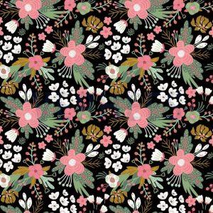 Estampado de flores multicolor sobre fondo negro