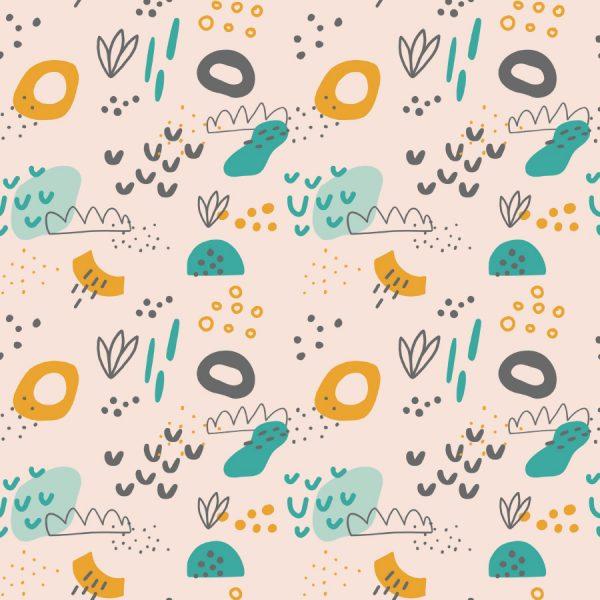 dibujos abstracto junto con motivos de plantas sobre fondo rosa pálido