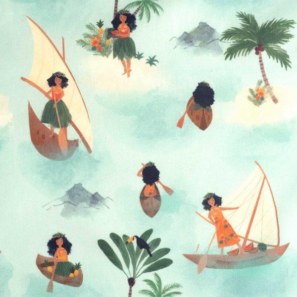 Fondo verde agua. Dibujos de mujeres hawaianas, navegando, vestidas con los atuendos típicos