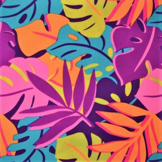hojas de monstera en tonos neón