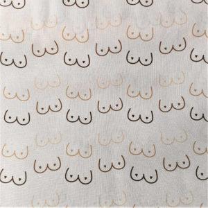 fondo beige, estampado de siluetas de pechos femeninos con pezones en forma de corazón