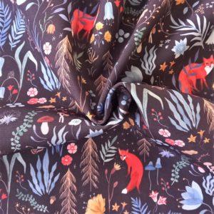 azul, negro, rosa, verde, ocre, rojo... motivos del bosque. Zorros rojos.