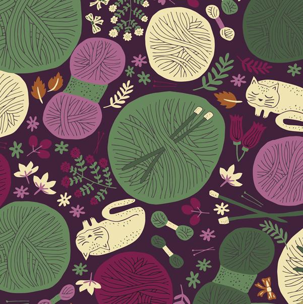 Estampado estilo japonés con dibujos de gatos, ovillos de lana y agujas de tejer. Multicolor
